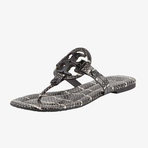 Tory Burch Miller 2 Snake Embossed Leather Sandals